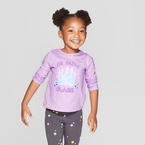 Toddlers Girls Graphic Long Sleeve Tee